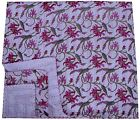 INDIAN WHITE QUEEN KANTHA FLORAL QUILT BEDSPREAD BLANKET THROW Embroidered Decor