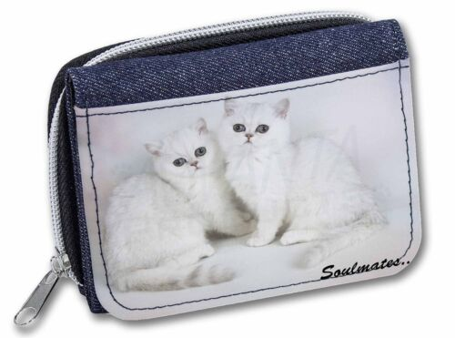 Two Exotic Cats 'Soulmates' GirlsLadies Denim Purse Wallet Christmas , SOUL7JW