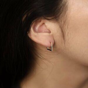 14k Yellow Gold Huggies Earrings Hoop Earrings, 12mm X 12mm