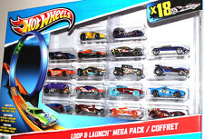 Mattel Hot Wheels Loop and launch Mega Pack 18 cars laucher/ Coffret