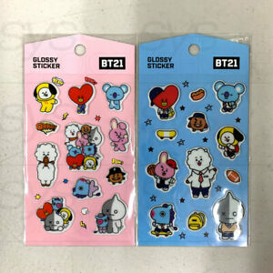 BTS BT21 Official Authentic Goods Glossy Sticker 2SET By Kumhong + Tracking Num