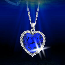 Style Fashion New Necklace Silver Plated Heart of Ocean Titanic Blue Crystal