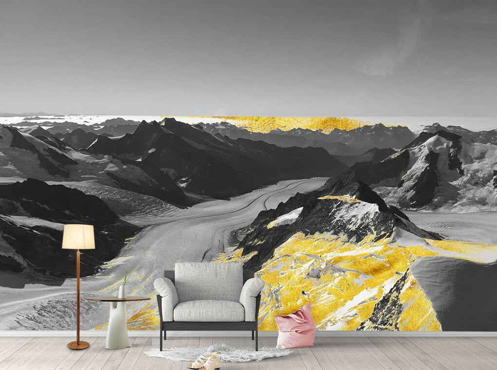 3D Mountain Golden 82 Wall Paper Exclusive MXY Wallpaper Mural Decal Indoor Wall