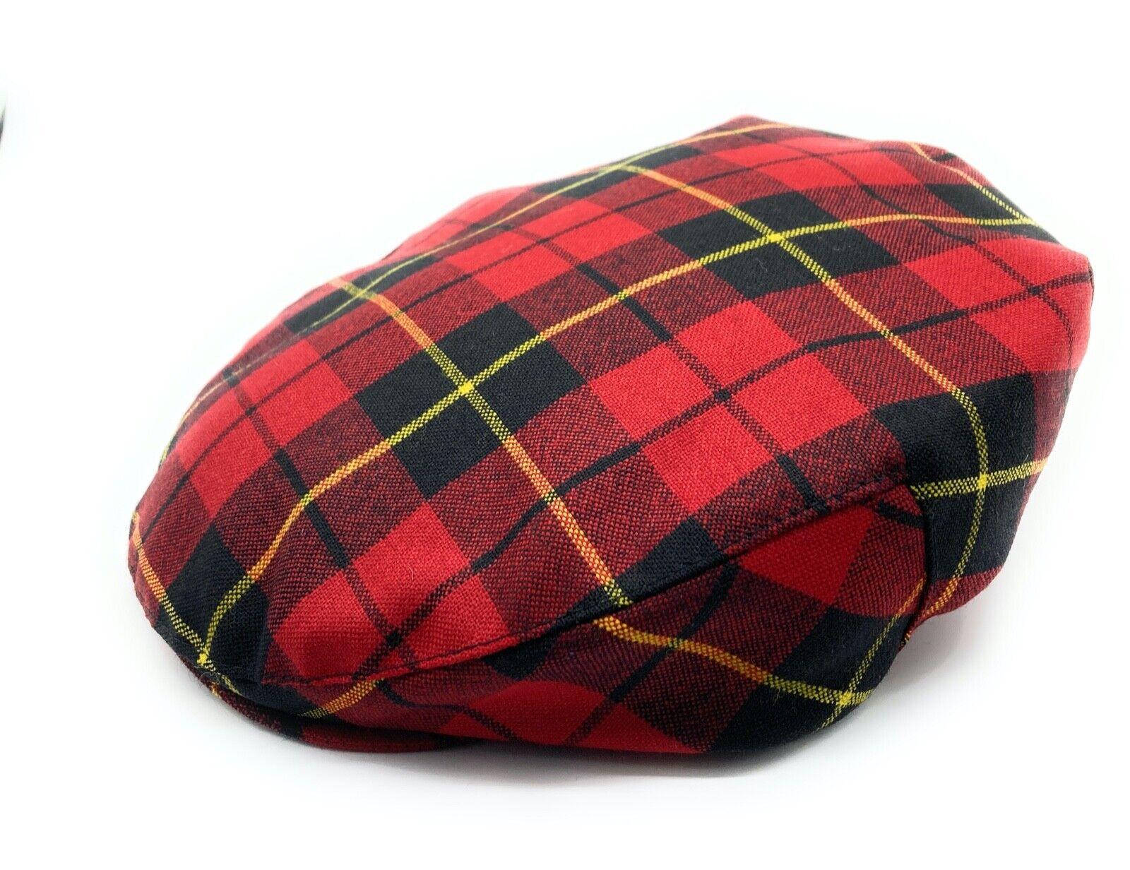 Herren Reine Wolle Wallace Tartan One Größe Flach Kappe - Hergestellt IN