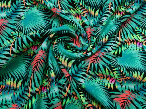 Stoff Stretch Badeanzugstoff Dschungel Blätter grün rot schwarz Tanzsportstoff