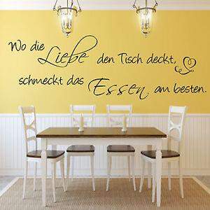 Details zu Wandtattoo Küche Esszimmer Wo die Liebe den Tisch  deckt...Wandspruch Art.2866