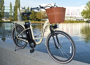 e bike damenfahrrad retro city vintage incl korb led. Black Bedroom Furniture Sets. Home Design Ideas