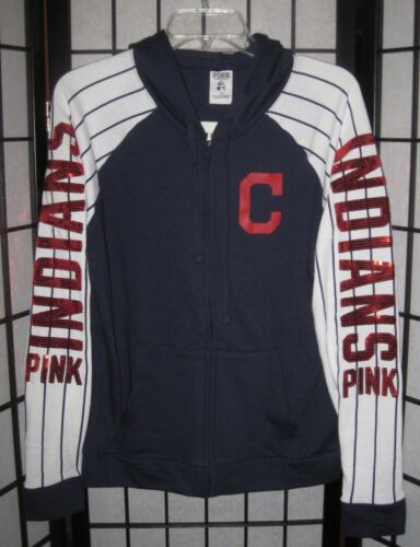 zippé Secret Nwt Sweat à zippé Cleveland Indians capuche rose Victoria's shirt sxdCthBQr