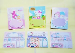 Sanrio Hello Kitty Little Twin Stars Cinnamoroll Memo Note Pads//Sticky Notes Set