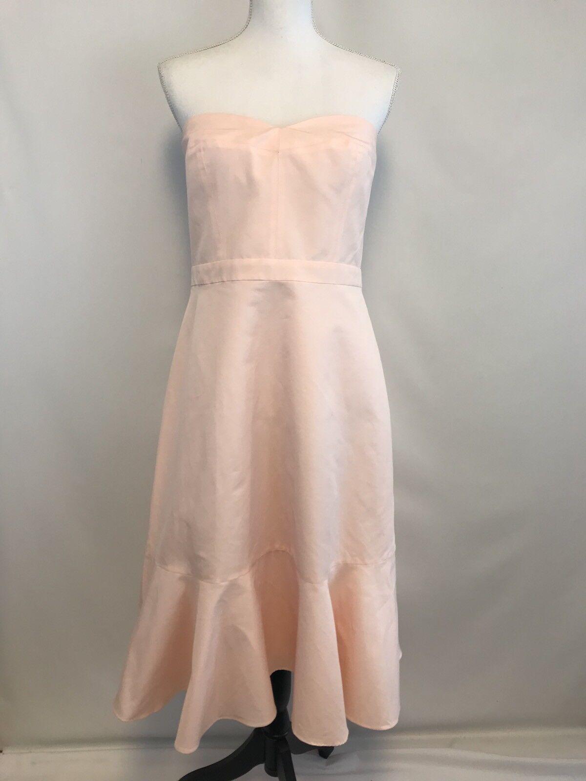 J.CREW  168 Strapless Ruffle-Hem Dress in Faille Sz 14 Pink g3470
