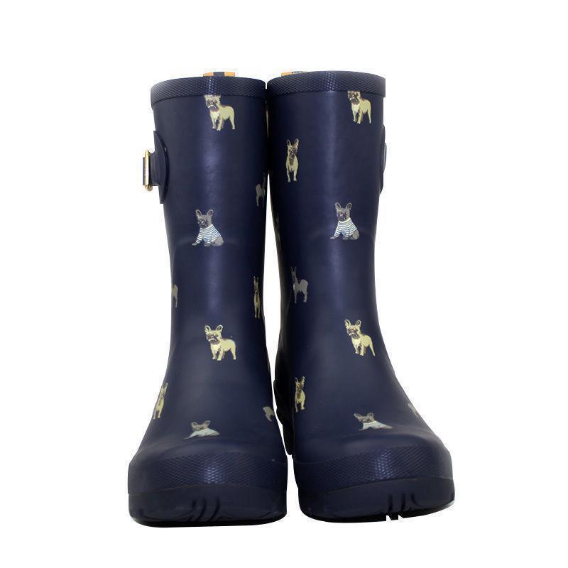 Lady Rain démarrage Mid Calf Anti-Skid Waterproof Rubber Pull On Cute Dog Print chaussures