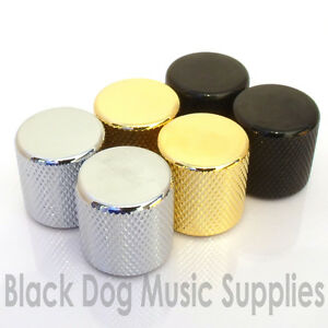 Pair-of-Flat-Top-Control-Knobs-in-Chrome-Black-or-Gold-Push-on-for-Guitar