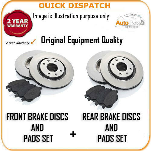 16824 FRONT AND REAR BRAKE DISCS AND PADS FOR TOYOTA AVENSIS 2.2D-4D 1//2009