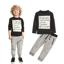 US 2Pcs Toddler Baby Boys Shirt + Pants Set Kids Clothes Sports  Outfits 120