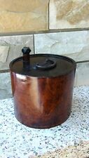 ANTIQUE 18C JAPANESE  MAHOGANY WOOD LACQUERED WATER BARREL CONTEINER  WITH PLUG
