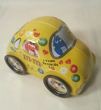 "M&M's Mars Collectible Storage Tin Volkswagen VW Bug 6"" Car Yellow Beatle 56"