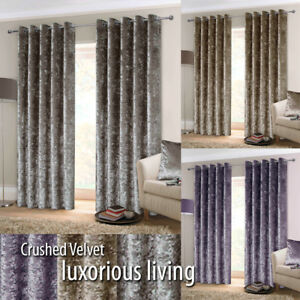 EYELET-Ring-Top-Pair-CRUSHED-VELVET-Heavy-Lined-Curtains