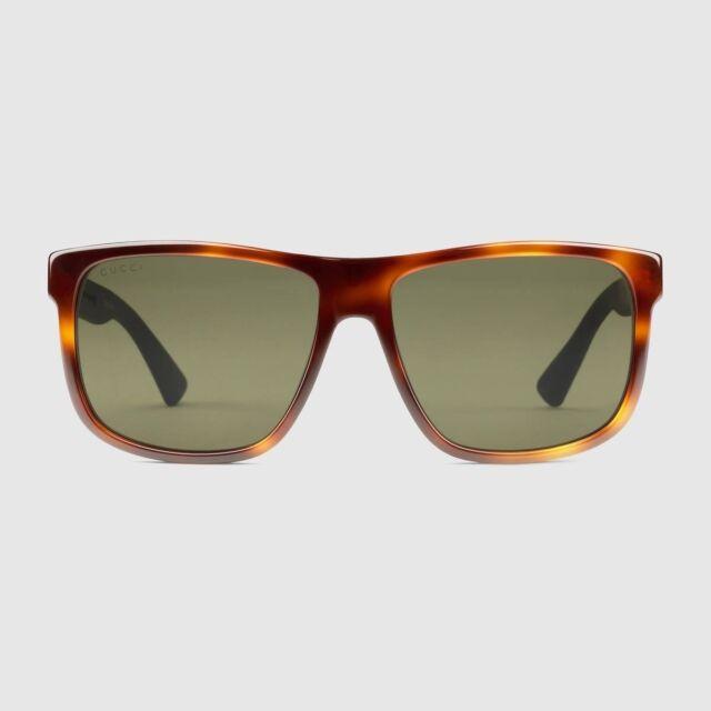 927e935020d Gucci Gg0010s 003 Havana Brown Squared Sunglasses W  Green Polarized ...