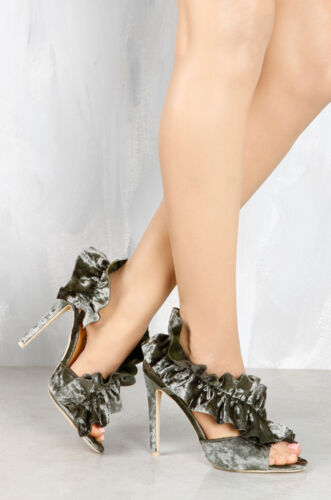 Olive Green Velvet Open Toe Ruffle High Heels Strappy Party Shoes