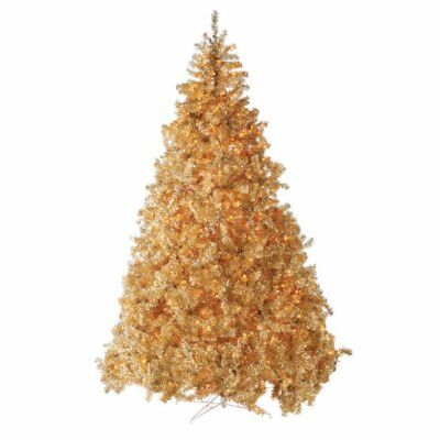Hayneedle 9 Pre Lit Classic Champagne Gold Full Christmas Tree Clear Lights Ebay
