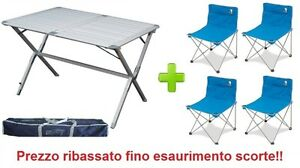 Tavolo Sedie Campeggio.Dettagli Su Tavolo Campeggio In Alluminio Argo 110x70x72h Con Sacca 4 Sedie Richiudibili