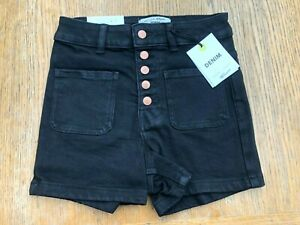 Girls-Ex-NEW-LOOK-915-High-Waisted-Black-Stretch-Denim-Shorts-Ages-11-15-NEW