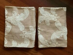 Vintage Curtains Draperies Ostrich Feathers Plumage Brown Ivory Pleated Romantic