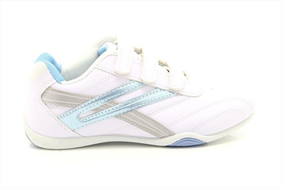 Ladies Fastening Girls Dek RAVEN Comfort Touch Fastening Ladies Trainers White/Light Blue PU d9101a