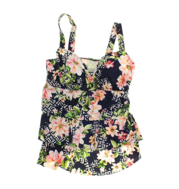 fe0d8ddd9e422 Swim Solutions Women's Triple Tiered Tankini Bikini Top - Juliet Print -  Size 10