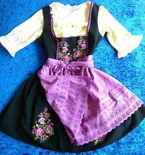 Rose Dirndl Mini lila-schwarz Balkonett-Dirndl bestickt 42-44 + Bluse + Schürze