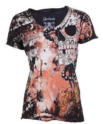 Archaic AFFLICTION Womens T-Shirt HYDRATE Skulls Tattoo Biker Sinful S-XL $40 c