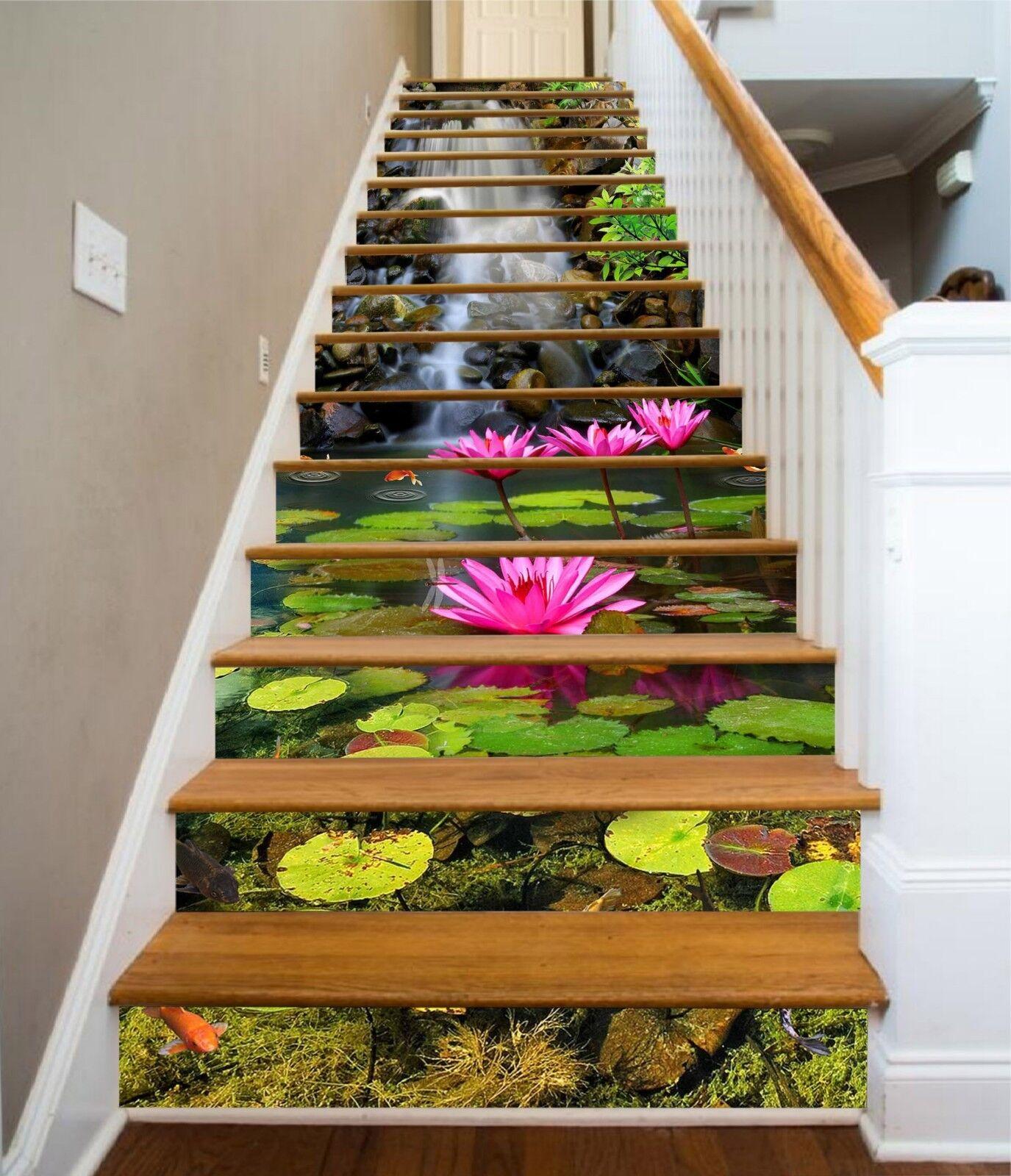 3D Stream Lotus 18 Stair Risers Decoration Photo Mural Vinyl Decal Wallpaper CA