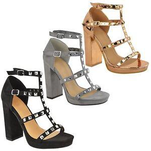 e57515ed1f9 womens ladies high block heel platform studded strappy ankle ...