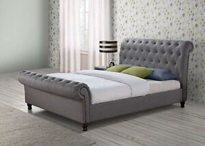 another chance f3f92 b774a Details about Castello Chesterfield Sleigh Grey Fabric 5FT 150cm King Size  Bed Frame