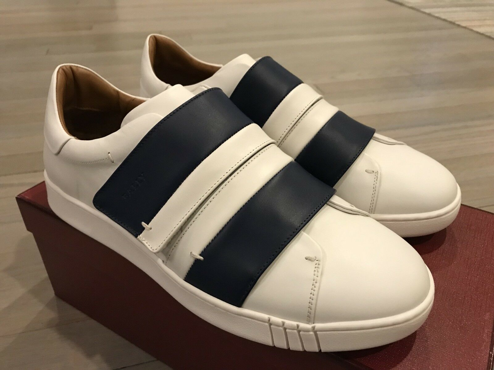 550  Bally Willet Willet Willet White and Blue Pelle Scarpe da Ginnastica size US 9 Made in Italy 37bdf2