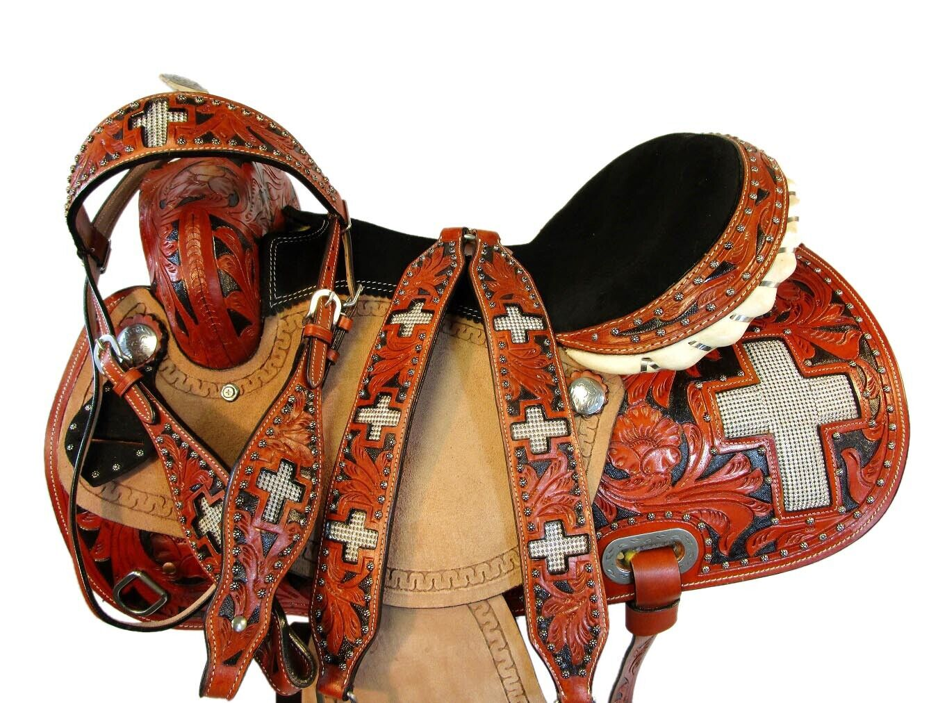 15 16 HAND TOOLED CROSS SHOW WESTERN BARREL RACING HORSE SADDLE PLEASURE LEATHER