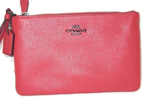 Coach 22952B Small Wristlet  Polished Pebbled Leather IN Washed Red NWT $75