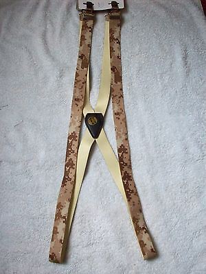 """MENS METAL CLIP 1"""" BROWN GREEN BEIGE URBAN CAMO CAMOFLAGE BRACES FOR TROUSERS"""