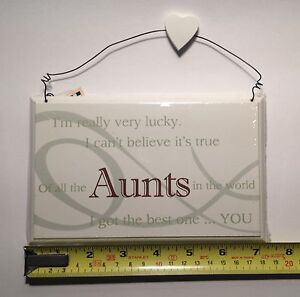Image Is Loading Lucky Aunts Wall Plaque Sign Birthday Gift Ideas