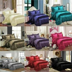 KING-SIZE-6-PCS-SATIN-SILK-BEDDING-SET-DUVET-COVER-FITTED-SHEET-amp-4-PILLOW-CASES