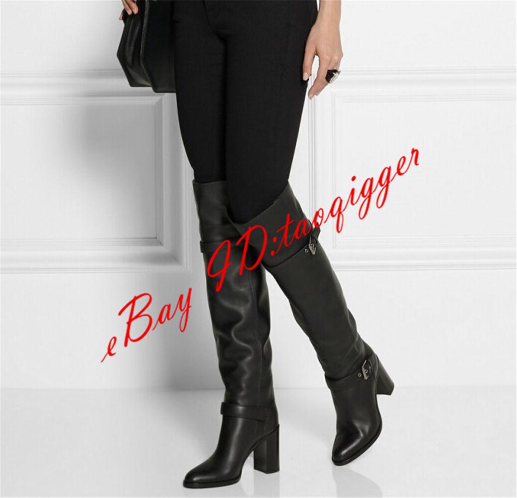 US Dimensione 4-12 donna Sexy Leather Over Knee High stivali Punk Buckle Block Heel avvio