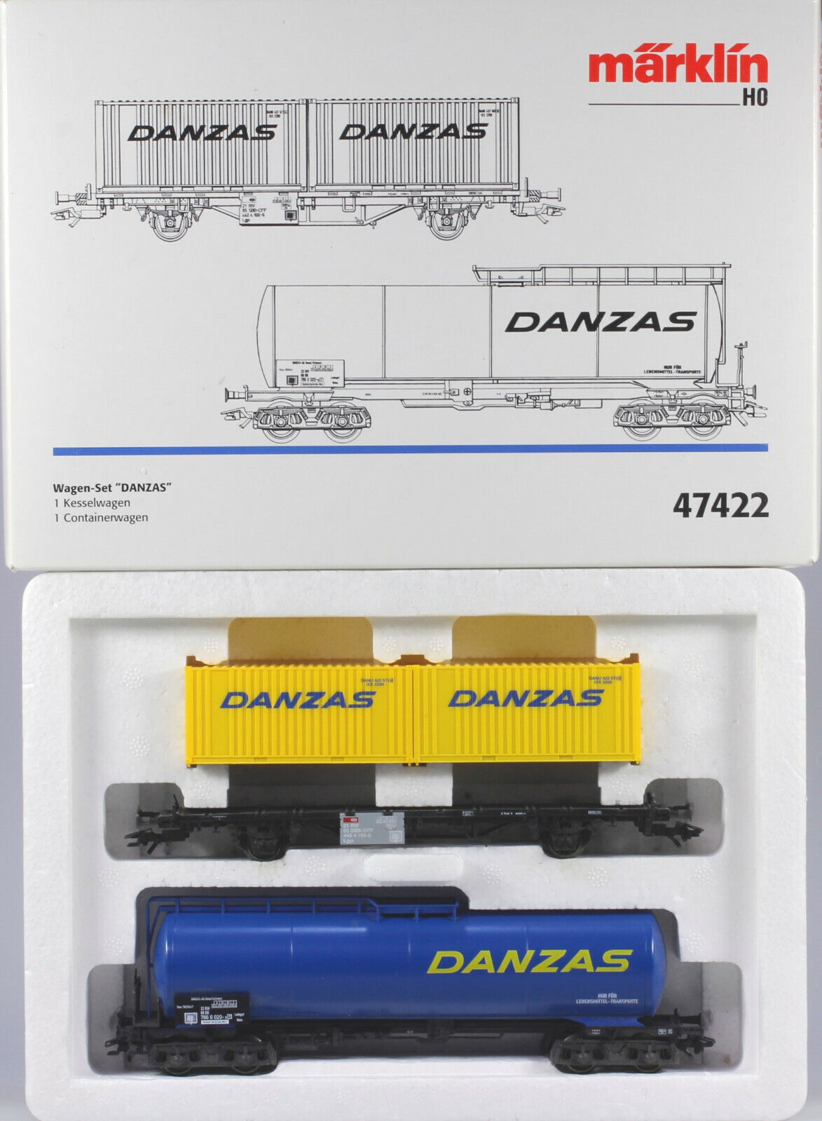 Märklin HO  47422 Danzas Tankcar & Container voiture Set. N BX, MHI Item 1996 Only