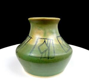 "STUDIO ART POTTERY KLEIN SIGNED GREEN WITH GEOMETRIC PATTERN 4 5/8"" VASE 1973"