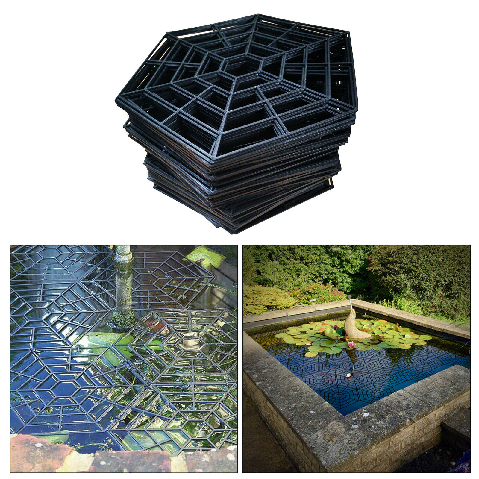 20pcs Plastic Fish Guard Grid Lightweight Pond Protector Floating Net Cover