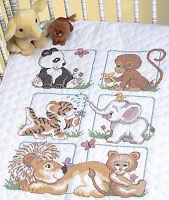Cross Stitch Kit Dimensions Cute Animal Babies Baby Crib Quilt 13083