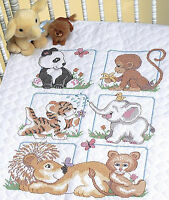 Cross Stitch Kit Dimensions Cute Animal Babies Baby Crib Quilt 13083