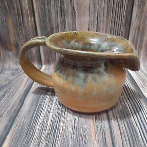 Art Studio Pottery Pitcher Artist Signed Blue Tan Brown Drip Glaze Handmade