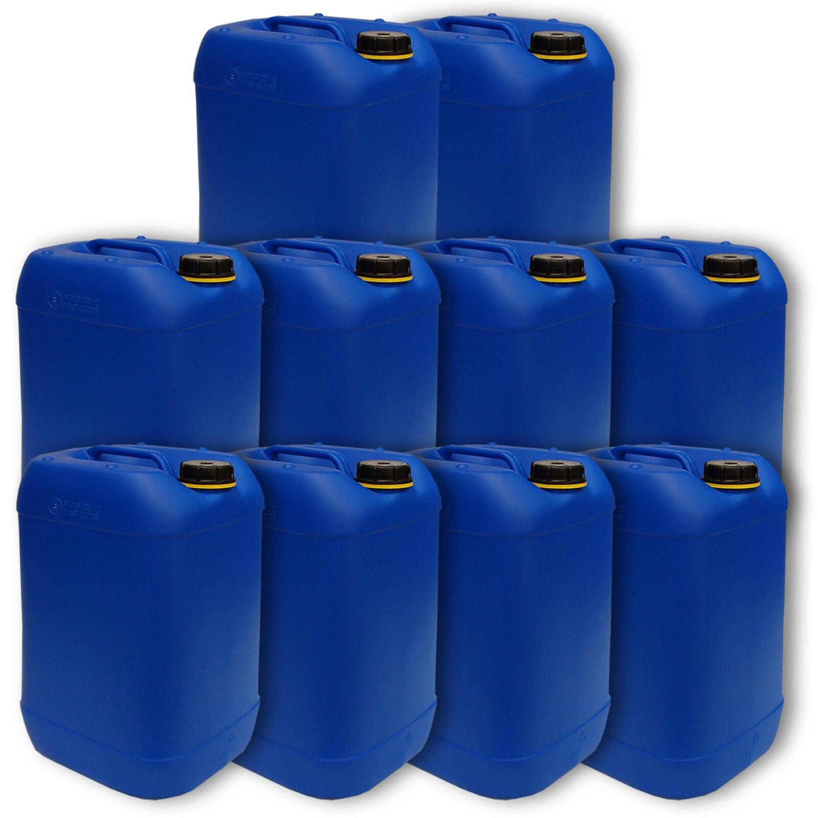 10er Set blauer Behälter Kanister für 20 Liter Inhalt aus Plastik leer unbenutzt