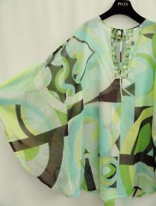 EMILIO-PUCCI-Print-Kaftan-Coverup-Dress-Uk8-10-IT40-US4-6-New