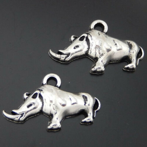 17 pcs Pack Antique Silver Alloy Wild Boar Design Pendant Charm Craft Findings